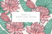 Vintage Card With Lotus Flowers. Floral Wreath. Flower Frame For Flowershop With Label Designs. Flor poster