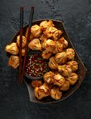 Chinese Takeaway Finger Food Vegetable Wontons With Sweet Chilli Dip Sauce And Chop Sticks poster