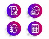 Creative Painting, Face Cream And Uv Protection Icons Simple Set. Halftone Dots Button. Calculator S poster