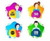 Just Now Symbol. People Shape Offer Badge. Special Offer Sign. Sale. Dynamic Shape Offer. Worker Per poster