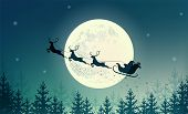 Santa Claus On Sleigh With Reindeer On Background Of Full Moon. Merry Christmas And Happy New Year.  poster