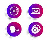 Full Rotation, Breathing Exercise And Online Delivery Icons Simple Set. Halftone Dots Button. Settin poster