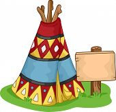 Illustration of a Colorful Wigwam