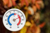 Outdoor thermometer with celsius scale showing warm temperature, blurred autumn leaves seen in backg poster