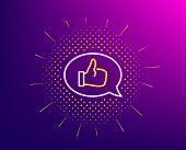Positive Feedback Line Icon. Halftone Pattern. Communication Symbol. Speech Bubble Sign. Gradient Ba poster