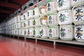 Barrels Of Sake Wine In Japanese Temple