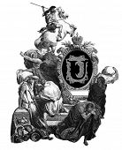 Luxurious Victorian initials letter U, after an engraving by Gustav Dore,