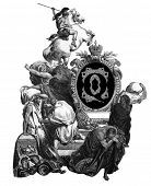 Luxurious Victorian initials letter Q, after an engraving by Gustav Dore,