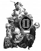 Luxurious Victorian initials letter I, after an engraving by Gustav Dore,