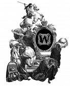 Luxurious Victorian initials letter W, after an engraving by Gustav Dore,
