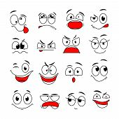 Cartoon Face Expression. Funny Comic Eyes And Mouths With Happy, Sad And Angry, Surprise Emotions. D poster