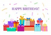 Happy Birthday Card With Gift Boxes. Celebratory Party Greeting Poster With Colorful Confetti, Ribbo poster