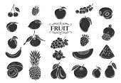 Fruit Glyph Icons Set. Decorative Retro Style Collection Isolated Fruits And Berries For Shop Design poster