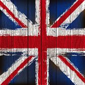 Union Jack On A Wooden Plank Background