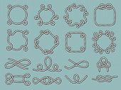 Lasso Nautical Frames. Rope Marine Knot Tied Decorative Circle Shapes For Labels Design Projects Vec poster