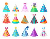 Party Colored Caps. Birthday Cone Hat For Carnival Vector Pictures Isolated. Celebration Cap Accesso poster