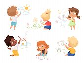 Kids Drawing. Children Artists Educational Funny Cute Childrens Boys And Girls Making Different Pict poster