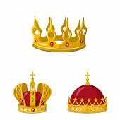 Vector Design Of Monarchy And Gold Sign. Set Of Monarchy And Heraldic Stock Symbol For Web. poster