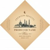 Vector Diamond Shaped Label For Red And White Wine With European Rural Landscape Of Vineyards And Eu poster