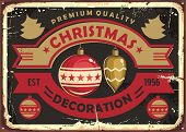 Christmas Decoration Store Retro Tin Sign Design. Vintage Vector Poster For Christmas Shop With Shin poster