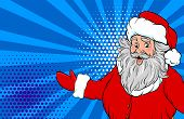 Funny Old Santa Show Place For Text Pop Art Style. Retro Christmas Greeting Card. Comic Book Text Ve poster
