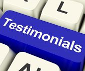stock photo of recommendation  - Testimonials Computer Key Shows Recommendations And Tributes Online - JPG