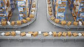Packages Delivery, Parcels Transportation System Concept, Cardboard Boxes On Conveyor Belt In Wareho poster
