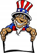 Smiling Cartoon Uncle Sam Character Holding A Sign Mascot Vector Graphic