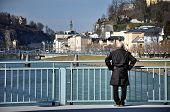 Old Man On The Bridge, Salzach River In Salzburg