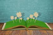 Paper cut of Four leaf clover on grass book