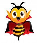 Happy Halloween! Vampire Bee. Cartoon Cute Dracula Bee Character In Vampire Halloween Costume. - Vec poster