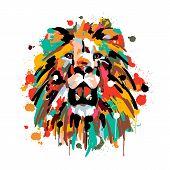 Lions Face, Savannah Animals, Brush Strokes Paints, Colored Spray, Lion Mane poster