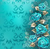 Composition Of Turquoise Roses With Leaves Of White Gold And Contour White Leaves On Turquoise, Lace poster