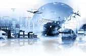 World Map With Logistic Network Distribution On Background. Logistic And Transport Concept In Front poster