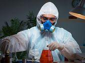 Young make scientist working with dangerous hazardous substances poster