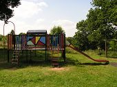 Climbing Frame In Empty Playground