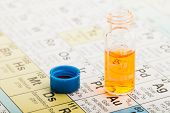 Chemistry: vial with orange fluid on the periodic table