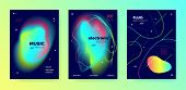 Vivid Music Party. Futuristic Layout. Electronic Club Concert. Colorful Abstract Template. Trendy Mu poster