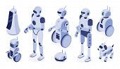 Isometric Robots. Digital Robotic Machines, Futuristic Android Development And 3d Robot Character. S poster