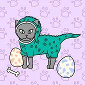 сute Kitty, Dinosaur Cat, Baby Vector Illustration, Seamless Background Pattern poster