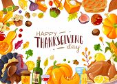 Thanksgiving Day Frame Illustration. Frame Illustration Cartoon Style On The Theme Of Thanksgiving A poster