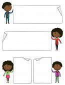 African-american Kids Holding Empty Blank Banners