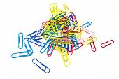 Colorful Paper Clips On White