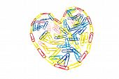 Heart Of Paper Clips On White