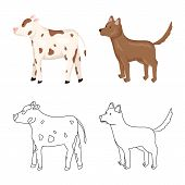 Vector Illustration Of Breeding And Kitchen Sign. Set Of Breeding And Organic Vector Icon For Stock. poster