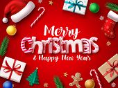 Christmas Vector Banner Design. Merry Chistmas Greeting 3d Realistic Typography Text With Xmas Decor poster