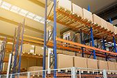 Large Hangar Warehouse Of Industrial And Logistics Companies. Long Shelves With A Variety Of Boxes.  poster
