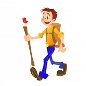 cartoon illustration of a hiking boy isolated on white