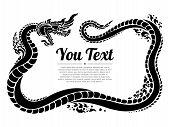 Thai Naga Isolate Vector. Hand Drawn Thai Dragon On Water, Line Thai Is Thailand Style And Tattoo De poster