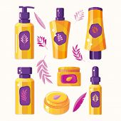 Set Natural Herbal Organic Cosmetic. Plant Cosmetics. Professional Face And Body Care. Ecological An poster